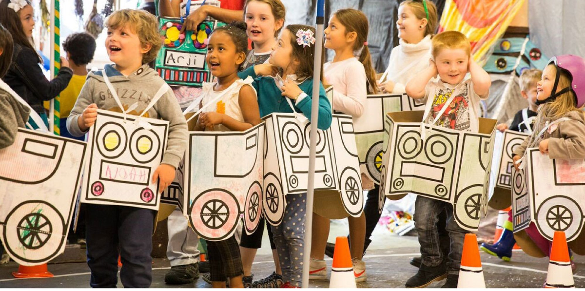A photo of kids dressed  in car costumes for the event Ready, Steady, GO!