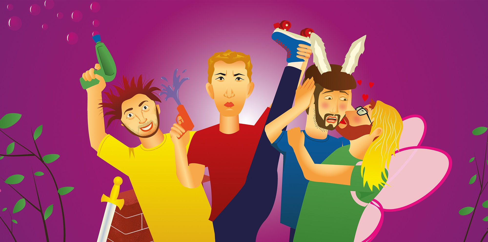 Four cartoon figures, two have water pistols, one is dressed as a donkey and is being kissed by one dressed as a fairy