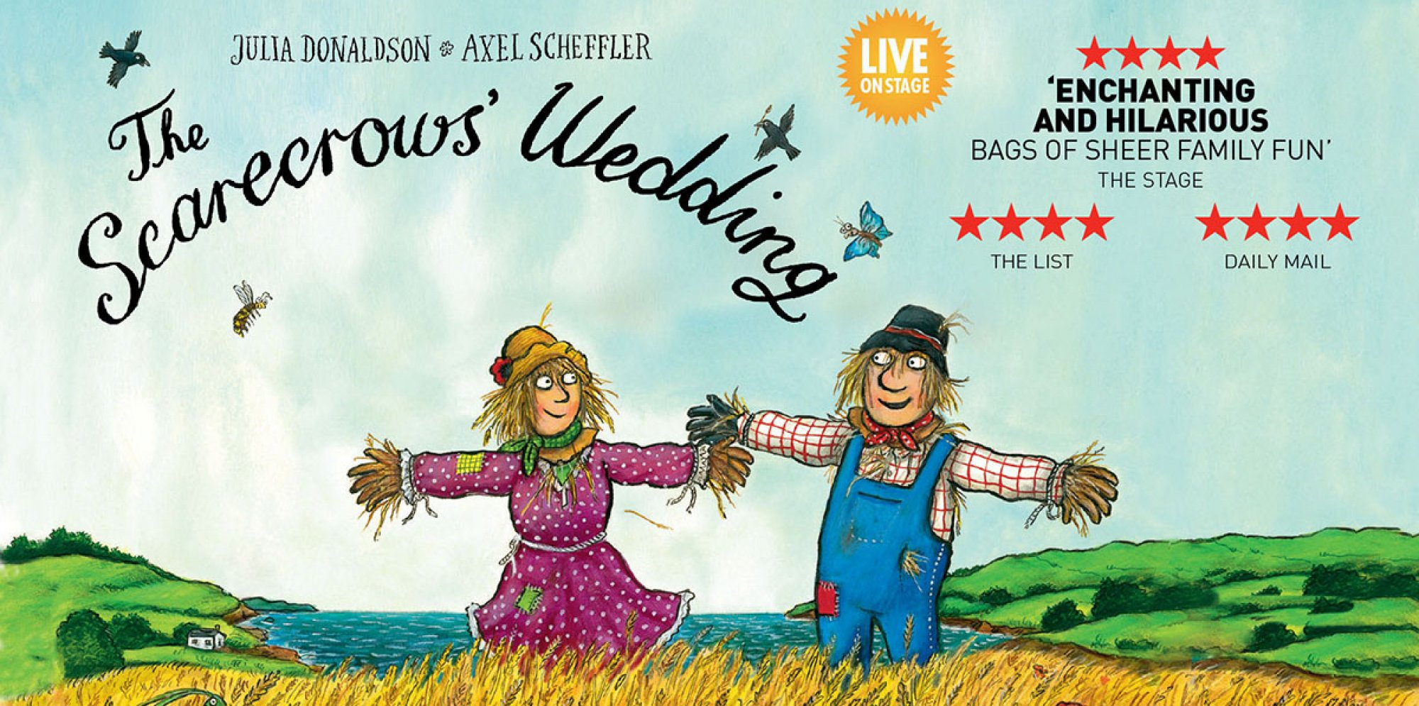 The Scarecrows' Wedding: a male and a female scarecrow stand on a field and smile at each other