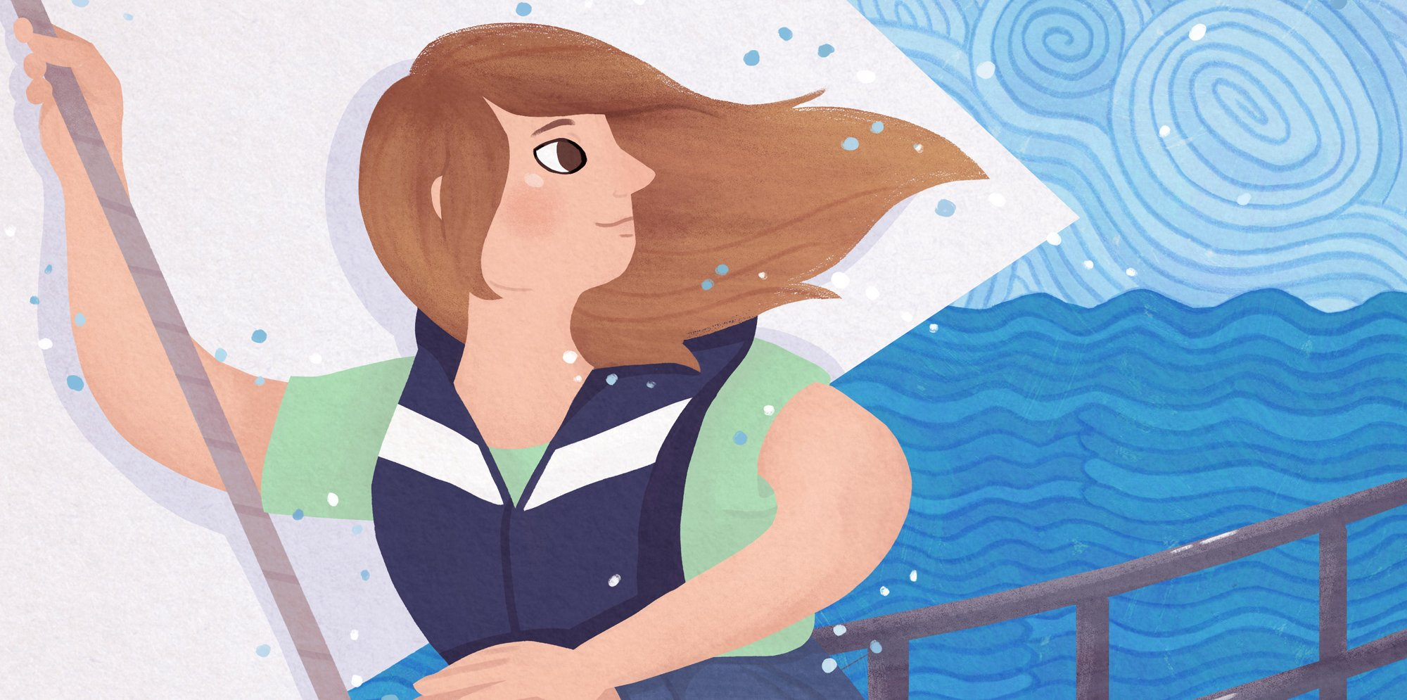An illustration of a girl on a boat in the sea. She is looking behind her. She looks confident and capable.