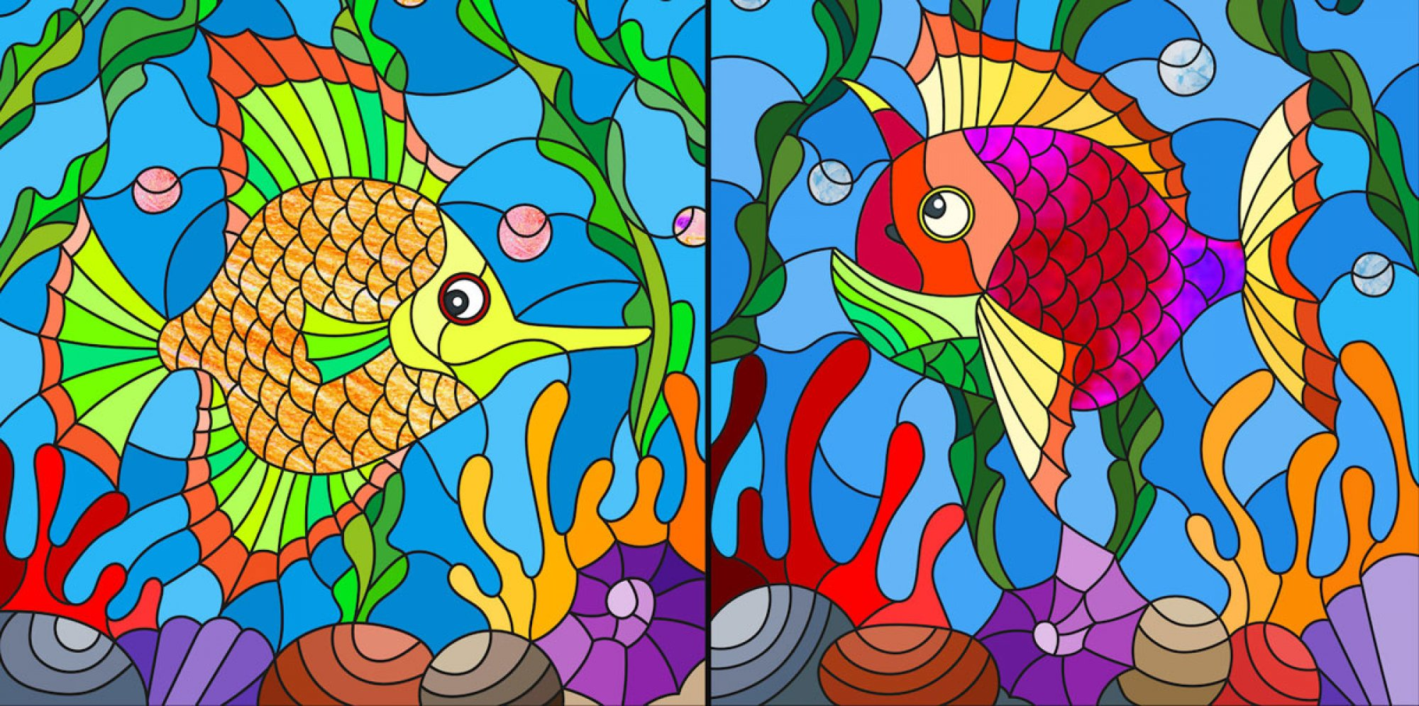 Mapledown School: a multi-colour painting of two fish under the sea