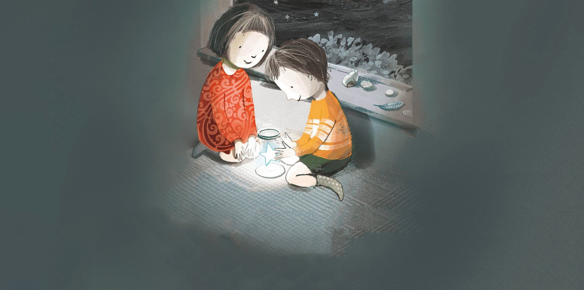 An illustration of a boy and a girl knelt by a window at night. There is a small star in a jar that the boy is holding.