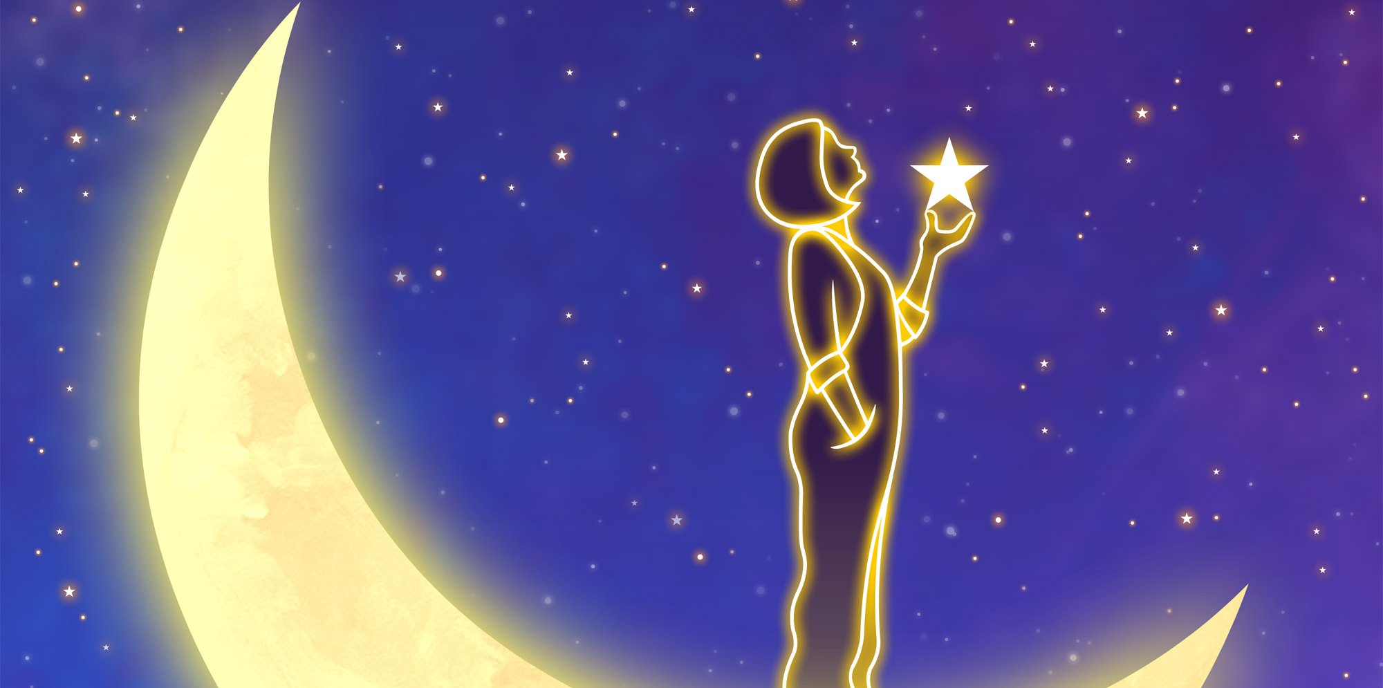 Stella: a figure of girl holding a star outlined by golden glowing lines against a starry sky. A crescent moon glows behind her.
