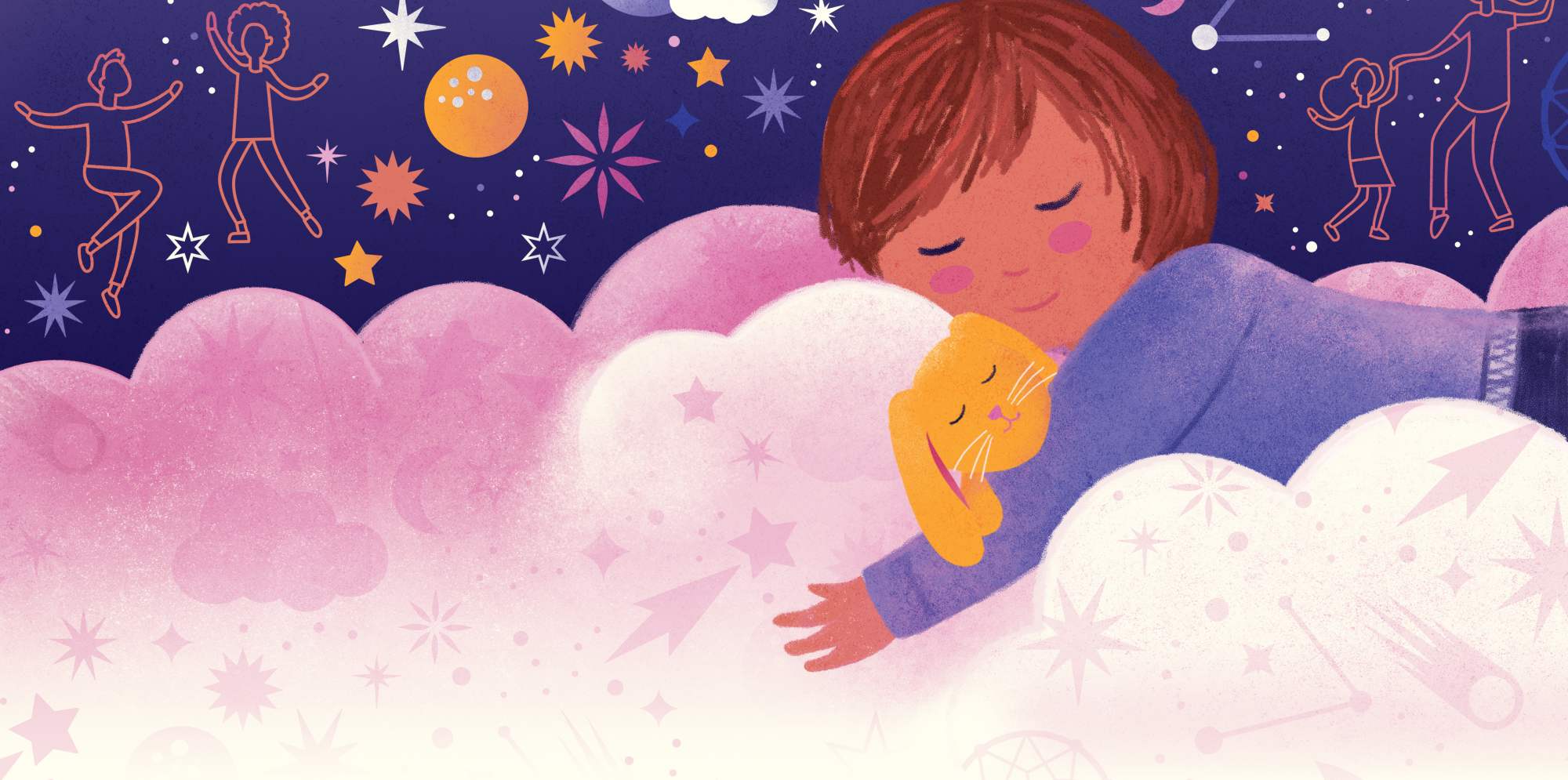 a child is asleep on a cloud