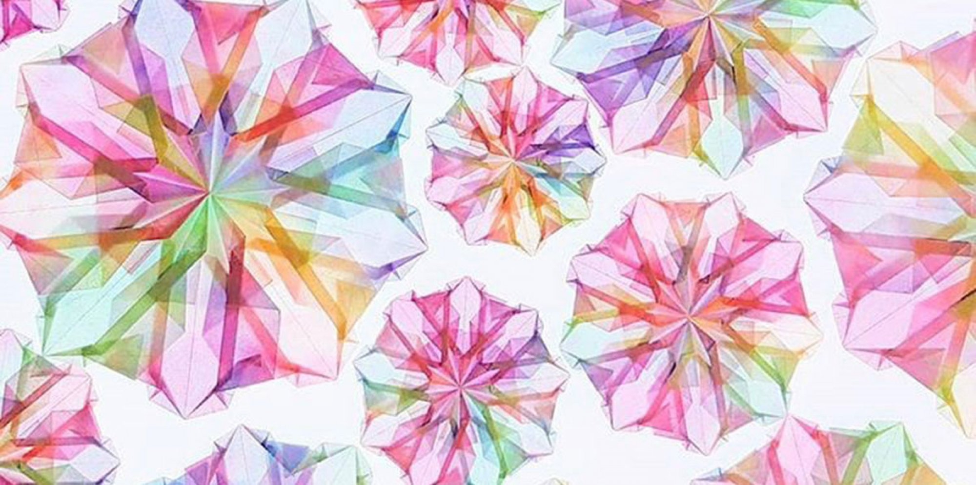 mandals or round crystal structures, resembling flowers, in shades of transparent pink and rose