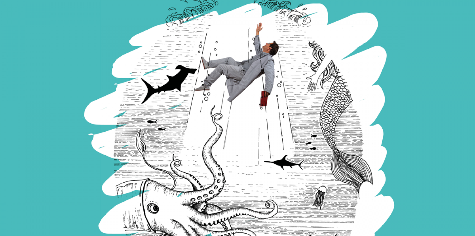 The Day I Fell Into A Book: an illustration of man falling underwater, greeted by sharks, mermaids and a kraken