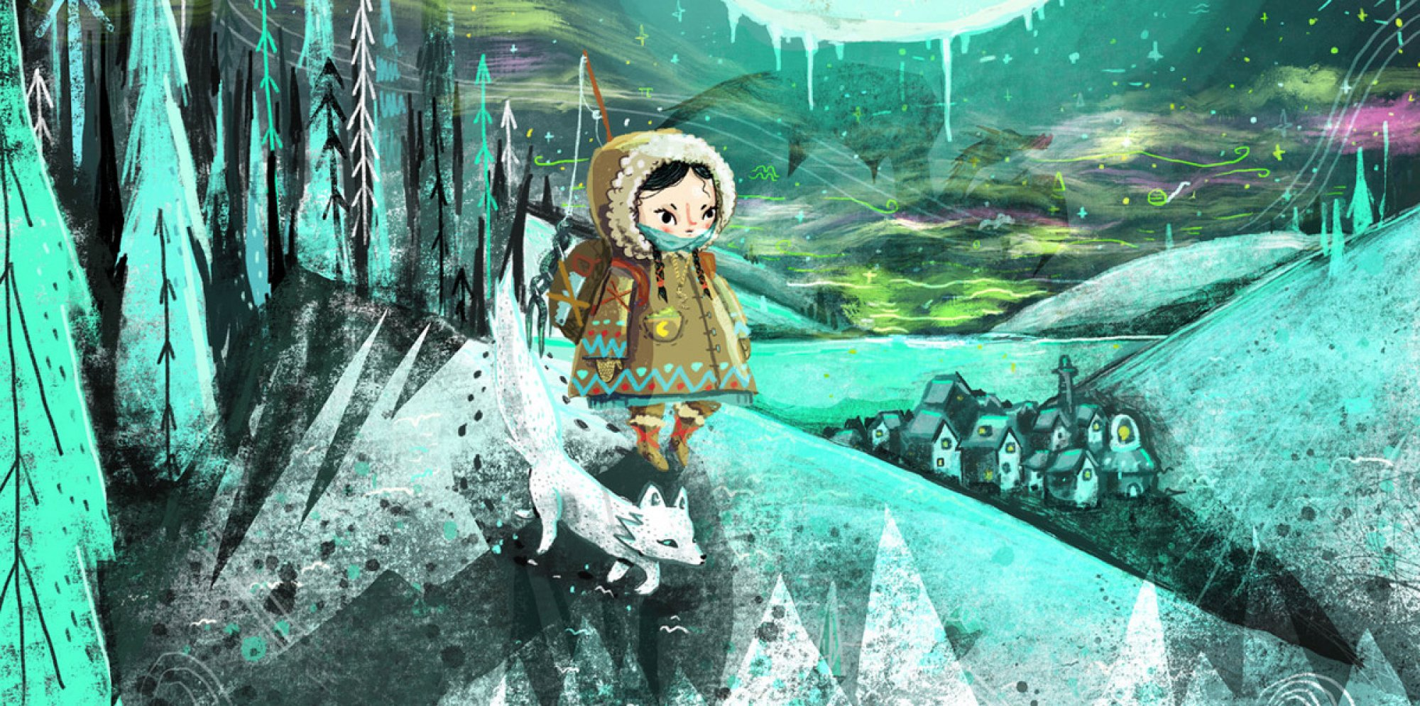 Under the Frozen Moon: an inuit child and a white dog walking along a path among a forest and a distant village under a pale moon. The image is tinted in green light.