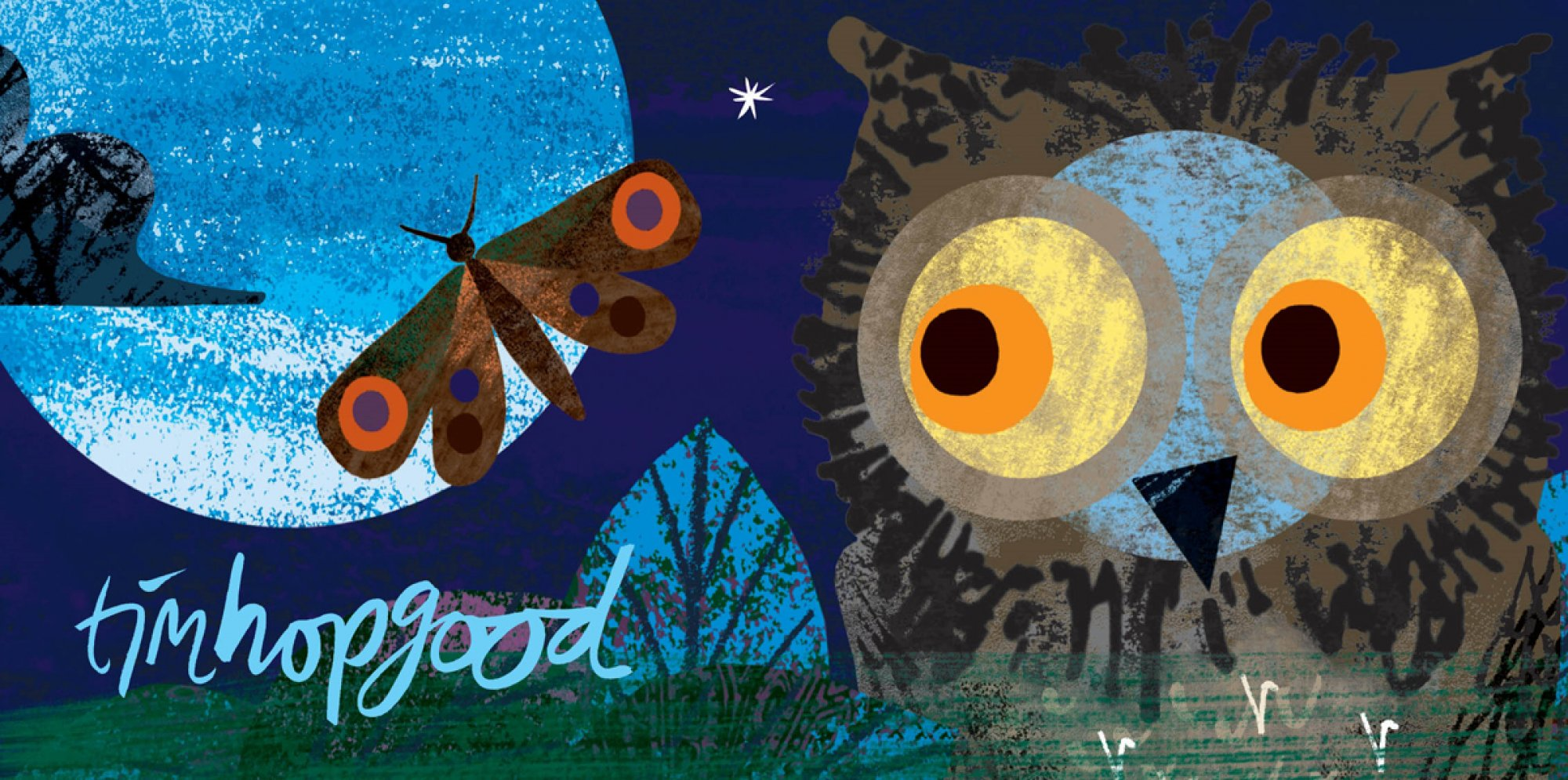 an illustration of an owl with big yellow eyes sitting in a night-time scene