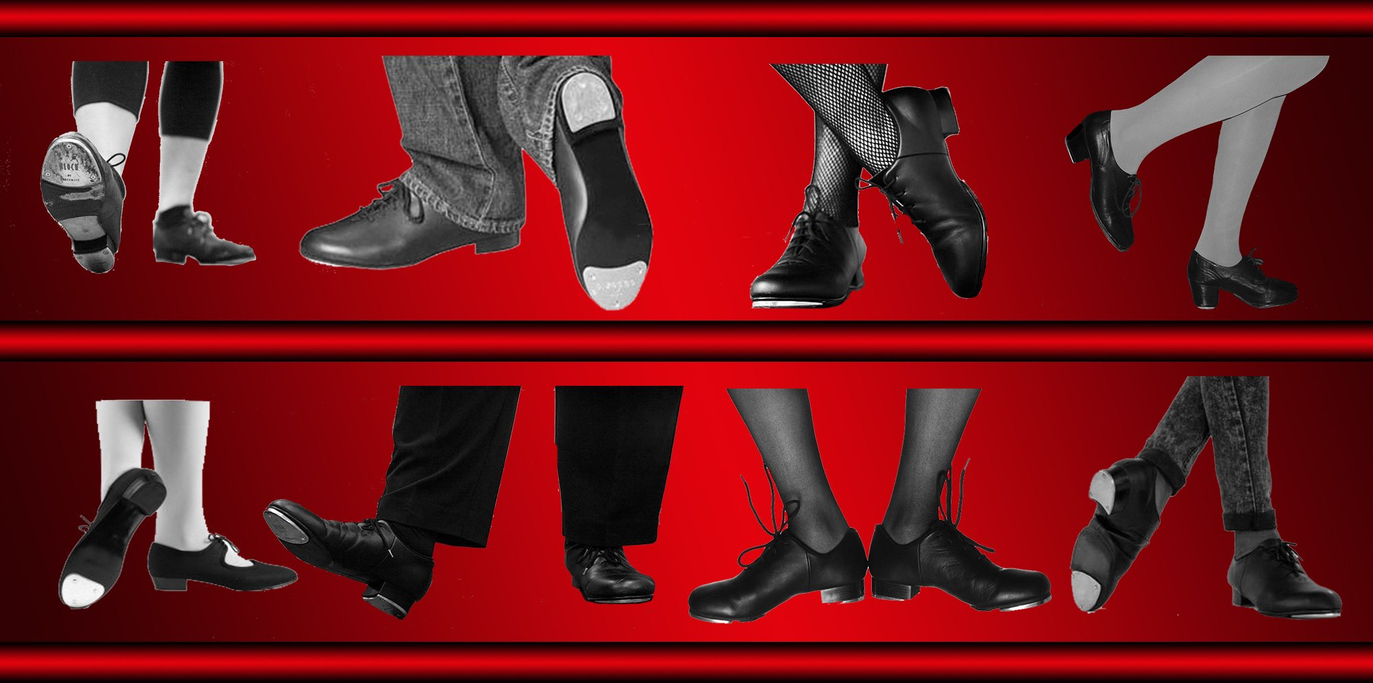 tap shoes on a red background