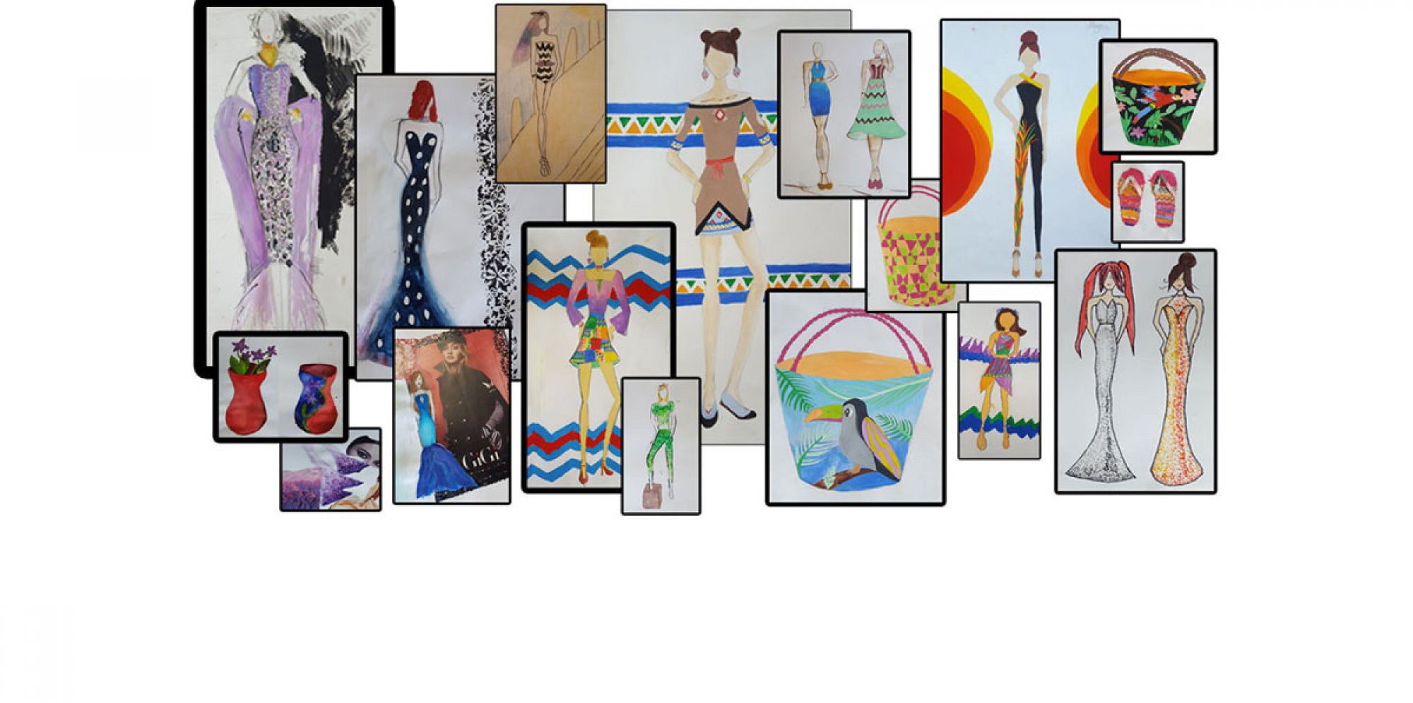 A photograph of fashion illustrations.