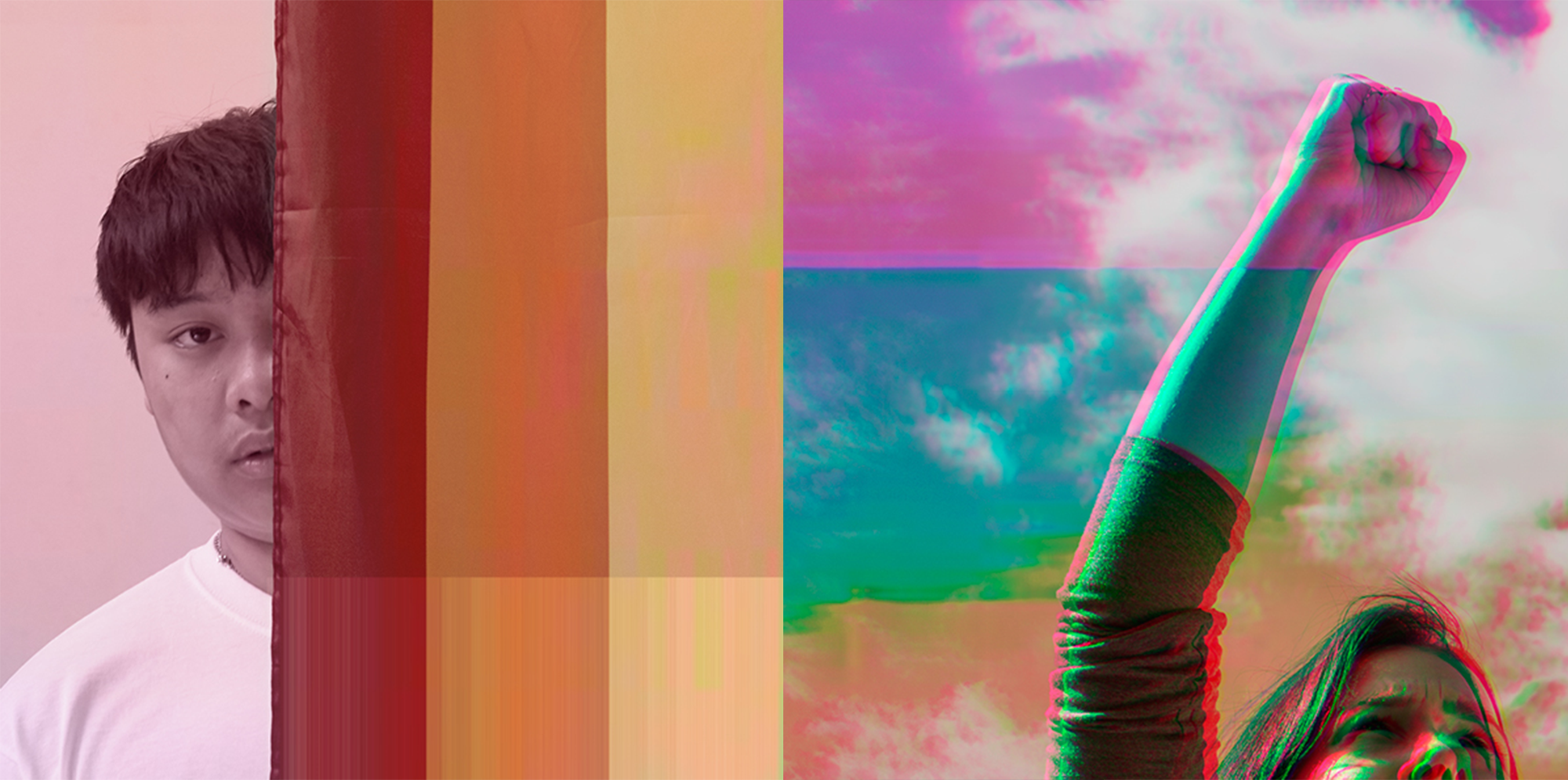 images with glitch fliters on top