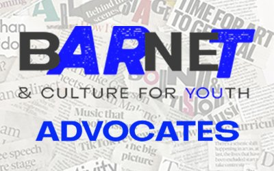 A background of torn newspaper headlines with the Barnet & Culture for Youth logo and Advocates written over it in blue