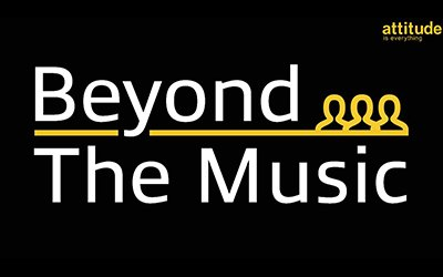 Text says Attitude is everything Beyond the music, there are some yellow outlines of people against a black background