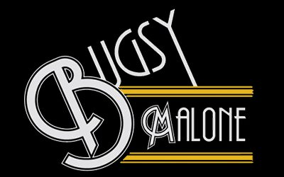 Bugsy Malone logo in white on a black background
