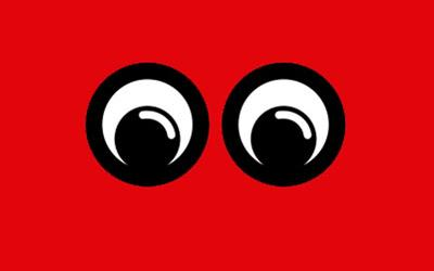 Fantastic for Families logo: goggly eyes on a red background