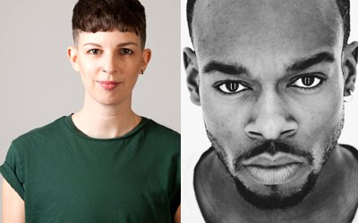 two headshots of a white non-binary person and a black man