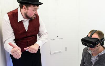 Trajectory Theatre performing with VR headsets
