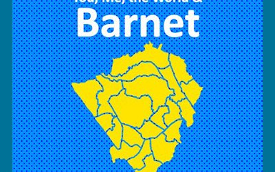 A yellow map of Barnet on a blue background. White text on the image reads You, Me, the World and Barnet.