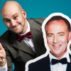 My Kind of Michael: Nick Cassenbaum, bald and in a suit, hugs a cardboard cut-out of Michael Barrymore.