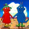 A cartoon image of two alien creatures holding hands