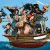 The Pirate Cruncher: An illustration of a group of pirates, including a captain with a dark beard, on old man and a monkey, sitting piled on top of each other in a very small boat