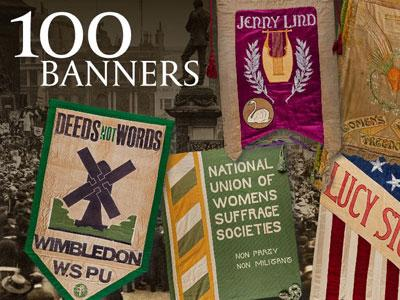 Colourful selection of suffrage banners