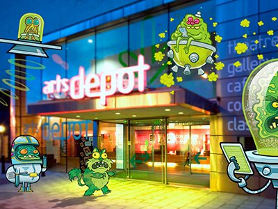 Th exterior entrance to artsdepot surrounded by illustrations of monster, zombies and aliens