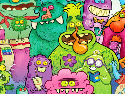 Cartoon images of aliens, zombies and monsters