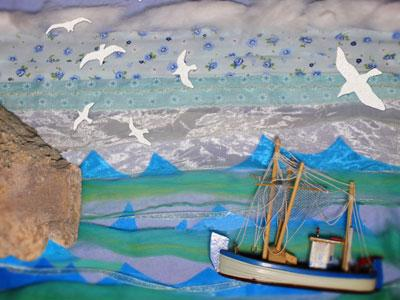 a cliff and a sailing ship against a rough sea and sky with gulls