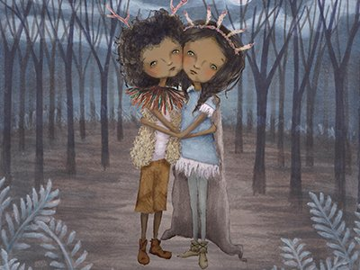 An illustration of two children alone in a forest, they have their arms around eachother and sad looks on their faces.