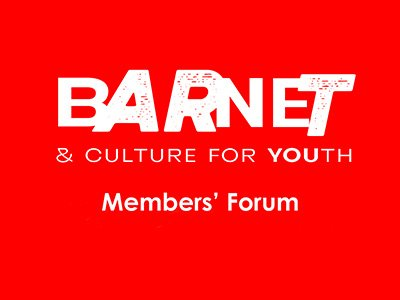 Barnet & Culture for Youth logo on a red background