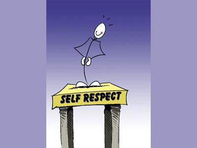 An simple cartoon of a person standing on a stool with a sign reading 'Respect Yourself' to promote Brahma Kumaris workshops.