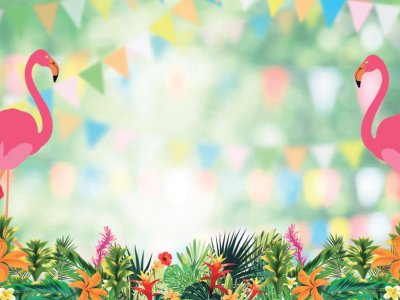 A composite image of exotic flowers and greens on the bottom, pink flamingos and blurry bunting.