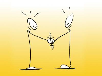 Two stickmen shaking hands