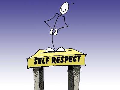 a stick man standing behind a pulpit titled 'Self respect'