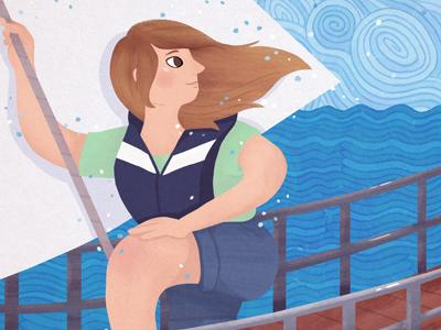 an illustration of a girl in sailing gear, holding a rope, looking over her shoulder towards blue curling waves