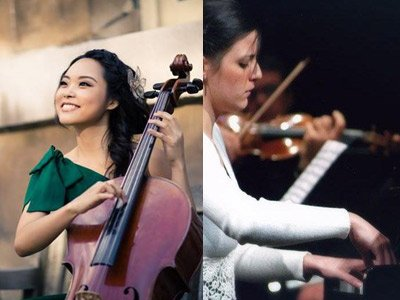 Catherine Lee playing the cello, Cettina Musumarra playing the piano