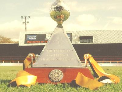 a trophy sitting on the grass of a football stadium. The trophy is made of a silver football and a red marble bottom with an unreadable description. The stadium's seats can be seen in the background.