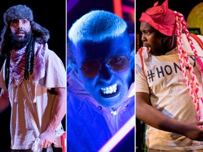 Three images from the hip hop musical The Concrete Jungle Book.