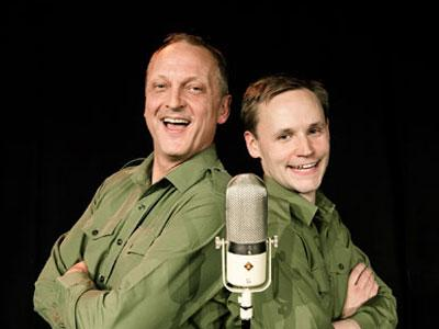 Dad's Army Radio Hour - Performers back to back in front of microphone