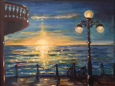 Finchley Arts Society: an oil painting of a sunset over sea, seen from a terrace with an old-fashioned street lantern and a balcony hanging overhead