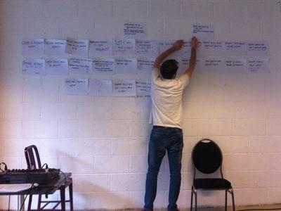 A photo of a man pinning pieces of paper with notes written on them to a wall in a bare studio space.