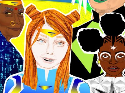 an illustration of an Indian woman, a white girl and a black girl dressed as super heroes