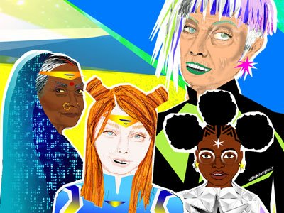 an illustration of a white older woman, an older South-Asian woman, a white girl and a black girl dressed as super heroes