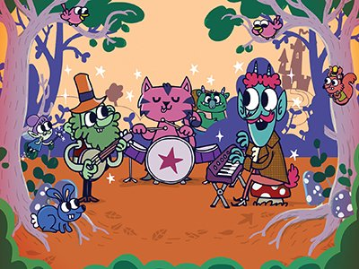There is cartoon images of woodland creatures in a forest playing instruments