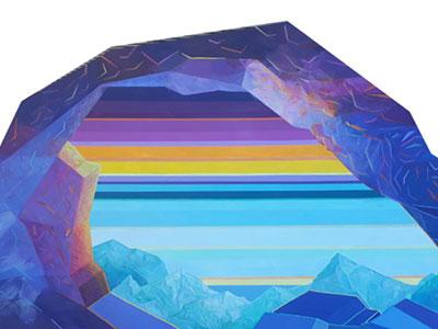 a colourful 3D painting of a rock pool