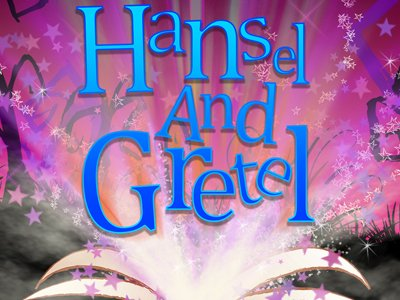 The words Hansel and Gretel are on a spooky background with a picture of a book