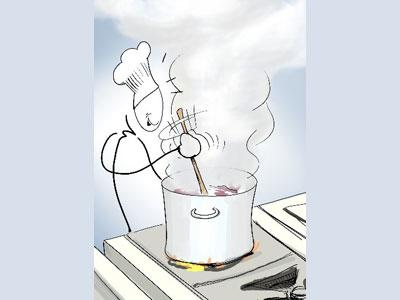 A simple line drawing animation of a person with a chef's hat on cooking.
