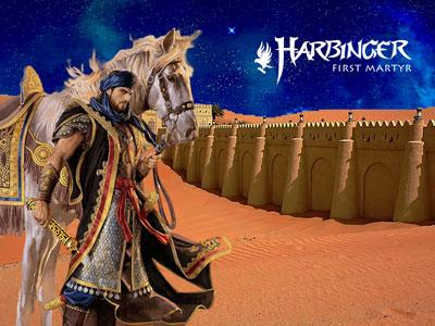 A picture of man from the middle east dressed in medieval garb, standing by a horse and brandishing a sword.