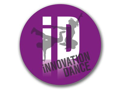 a purple circle, encircling the silhouettes of two dancers and the initials of Innovation Dance